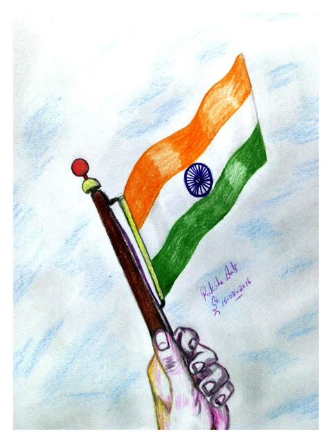 ORIGINAL DRAWING FOR SALE - NATIONAL FLAG ( INDIA )