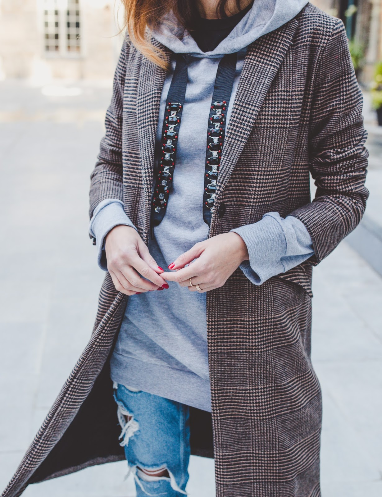 checked coat hoodie outfit