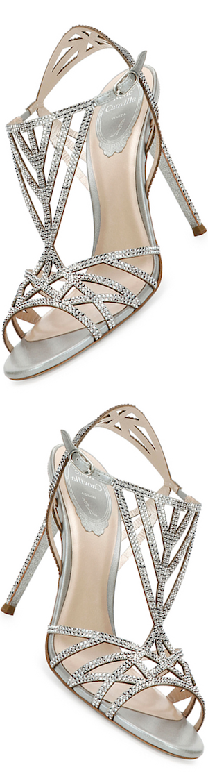 Rene Caovilla Crystal-Embellished Cutout 105mm Sandal, Silver