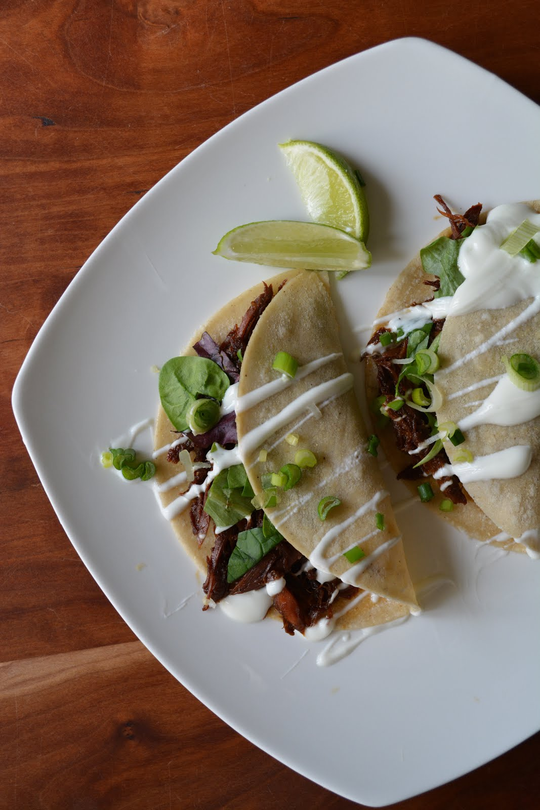girl in an apron wild duck tacos