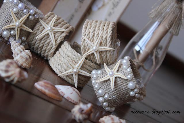 çuval bezinden deniz temalı peçete halkaları