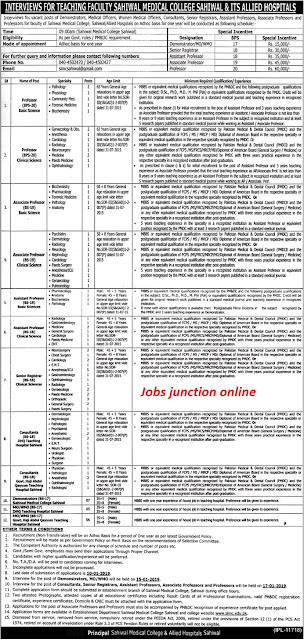 Sahiwal Medical College & Allied Hospitals Jobs December 2018 For Teaching Faculty