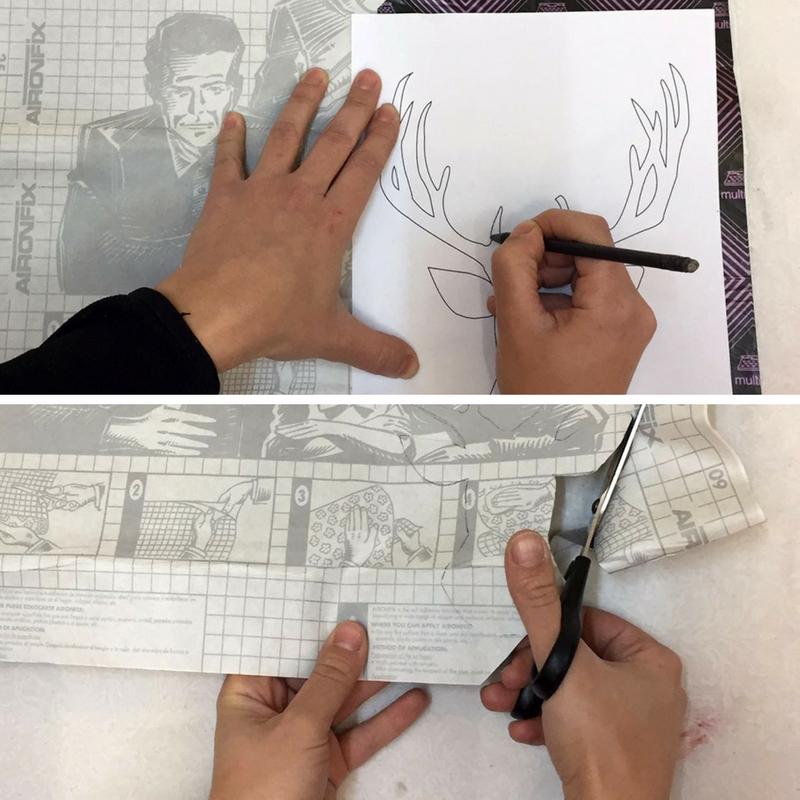 Paso A Paso - Dos taburetes de madera - Calcando y cortando el stencil