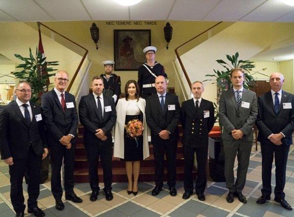 Princess Mary attended the Naval Team Denmark reception. Princess Mary wore Prada coat and Prada dress, Roksanda