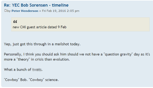 Peter Henderson being a shallow thinker and bigot on the British Centre for Science Education Forums.
