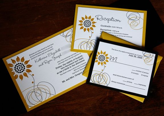 Cheap Sunflower Wedding Invitations: Neutral Wedding Invitations: Sunflower Wedding Theme