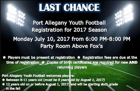 7-10 Last Chance To Register Football