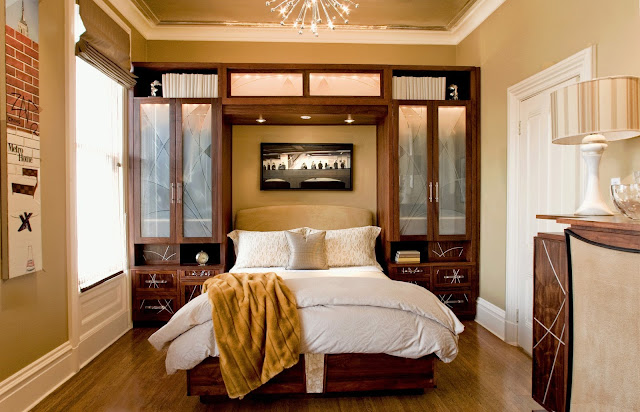 decorate a small bedroom with traditional bed and wooden cabinet