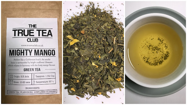A collage of 3 pictures showing the Mighty Mango tea packet, the loose tea with lots of green leaves and a cup of tea.