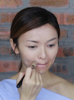 Spread it out with the foundation brush then follow by the beauty blender and  blend it gently.