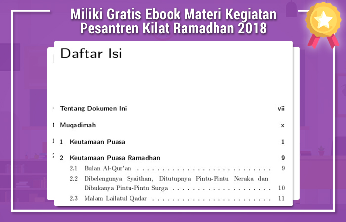 Miliki Gratis Ebook Materi Kegiatan Pesantren Kilat Ramadhan 2018