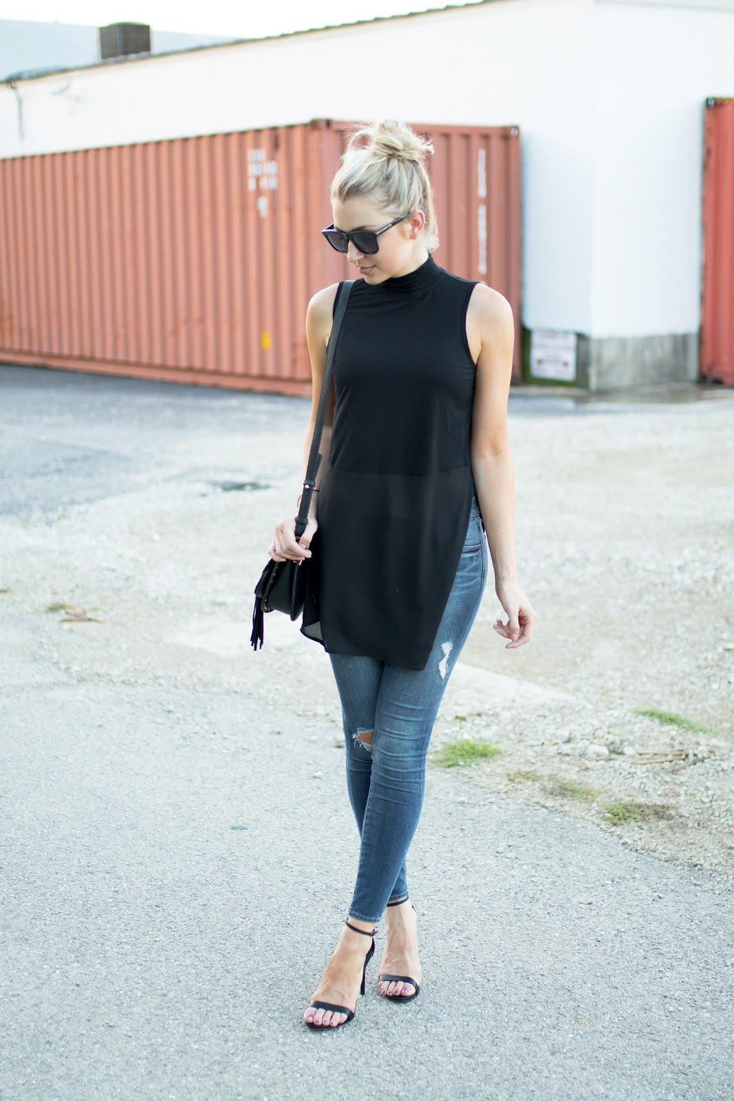 Side slit top with ripped jeans
