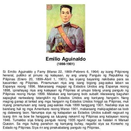 Araling Pilipino - Pangulong Emilio Aguinaldo Talambuhay
