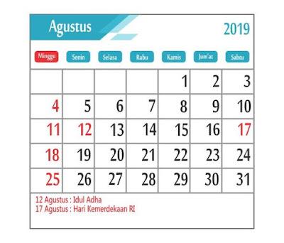 Kalender Agustus 2019 - tanggal merah
