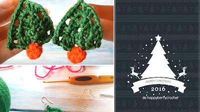 Pendientes: Cuelgate arboles de Navidad a crochet