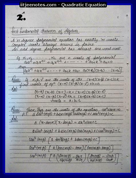Quadratic Equation Notes-Maths2