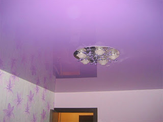 Натяжные потолки Армавир фирма БАГЕТКИ фиолетовое миреневое полотно фото