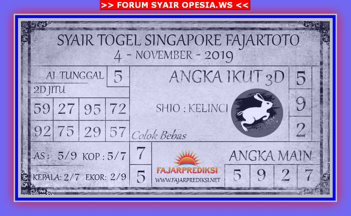 Kode syair Singapore Senin 4 November 2019 90
