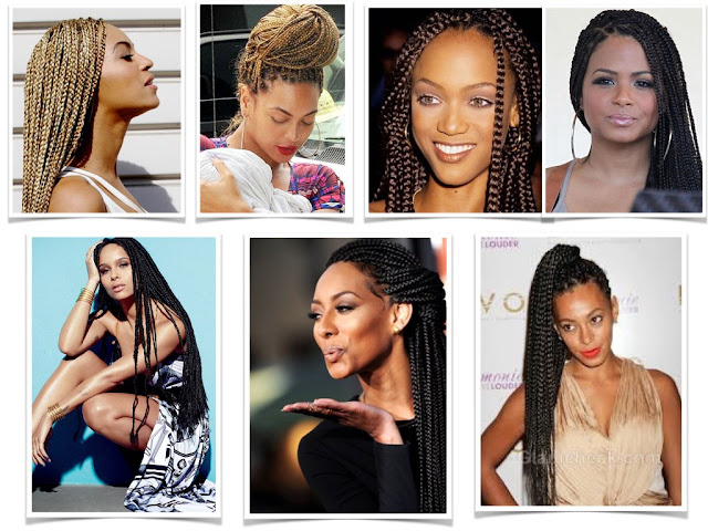 Celebrities Box Braids Beyonce, Tyra Banks, Cristina Millan, Zoe Kravitz, Solange