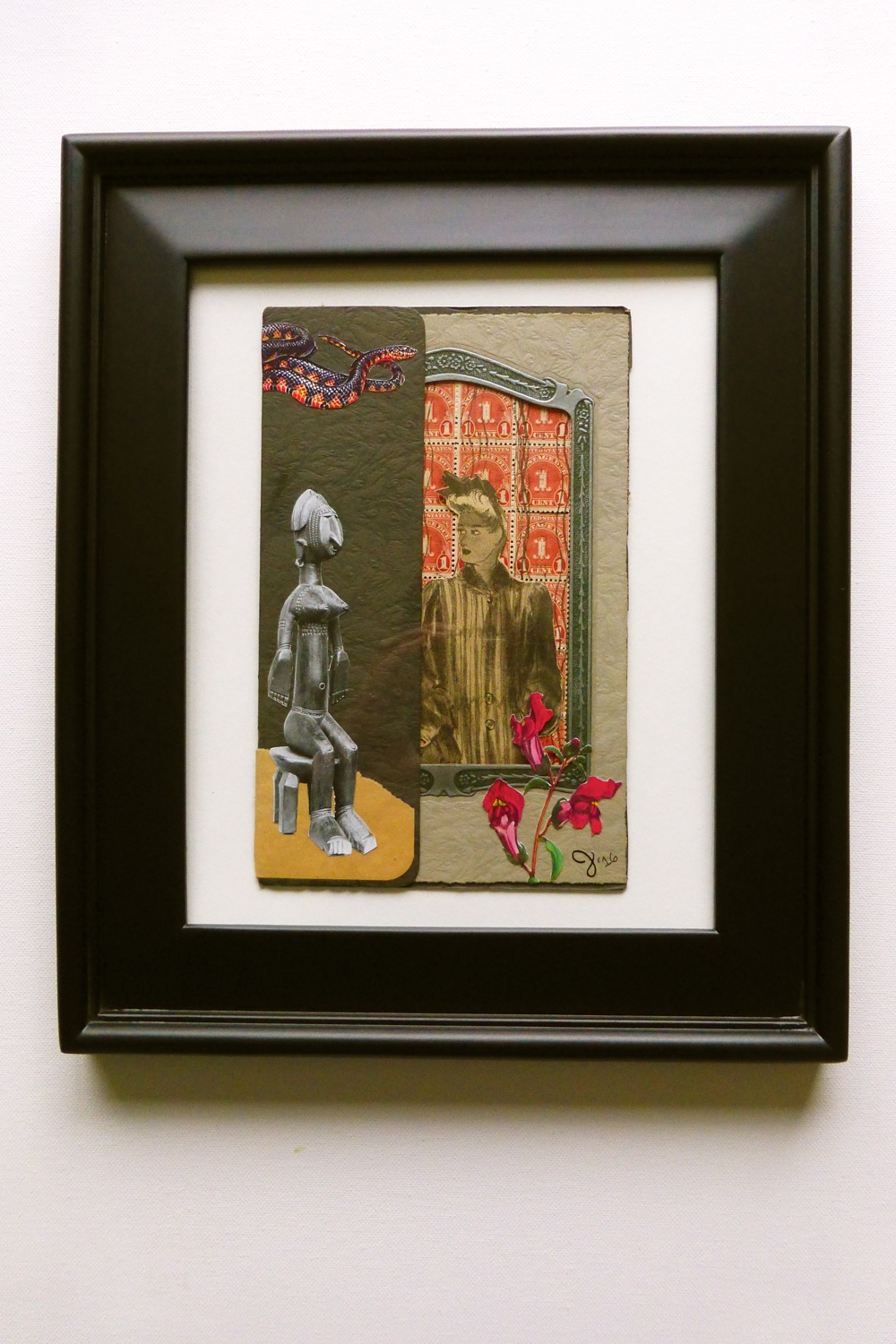 Two Women No. 2, collage, African sculpture, antique photo frame, antique postage stamps, black and red snake, red flowers, snap dragons, paper, scissors, glue