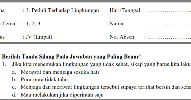 Soal Uts Pts Tematik Kelas 4 Tema 3 Semester 1 Ganjil Oemar Bakri