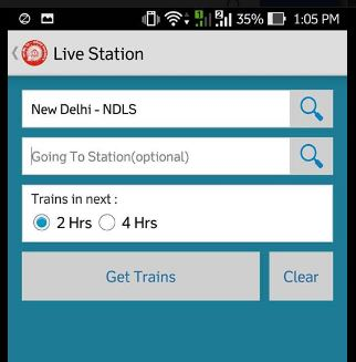 Live train status at station