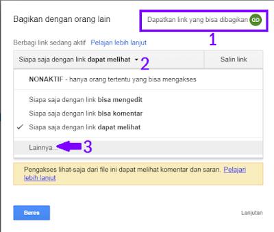 Setting Bagikan File PDF di Google Drive menjadi publik