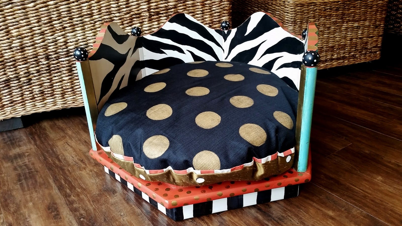 hand painted zebra print dog bed