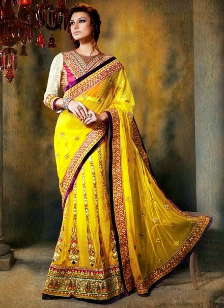Party Wear Colorful Fish-Tail Sarees 2014 l Formal Wear ...