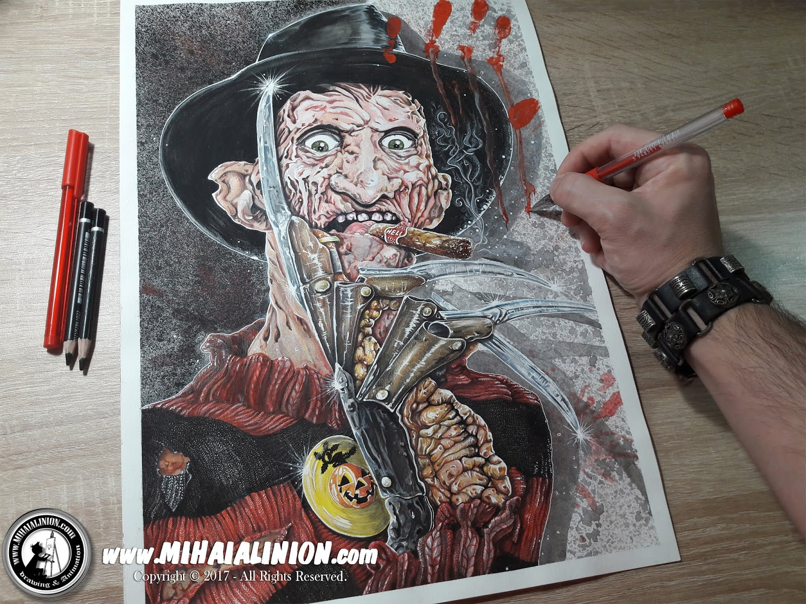 Drawing Freddy Krueger Dark Fantasy Art Mihai Alin Ion
