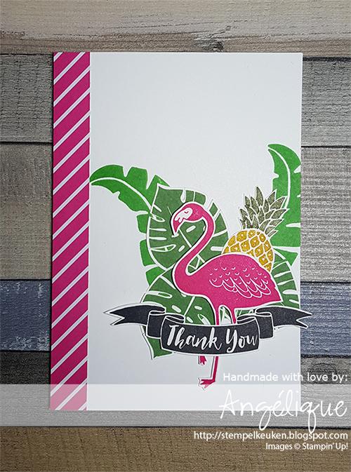 http://stempelkeuken.blogspot.com/2016/07/stampin-up-pop-of-paradise-dag-1.html Stempelkeuken, Pop of Paradise, Melon Mambo, Cucumber Crush, Stampin' Write Markers, Garden Green, Paper Snips