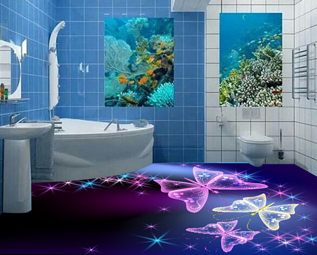 3D bathroom floor designs with colored stars and butterflys