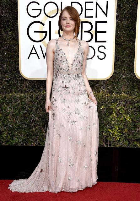 2017 Golden Globe Awards Emma Stone Wear Sexy Plunging Neckline Embellished Gown