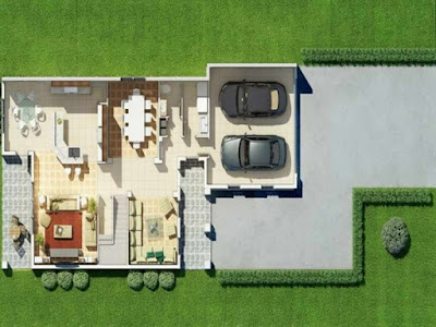 Ground floor plan - House plans 3D