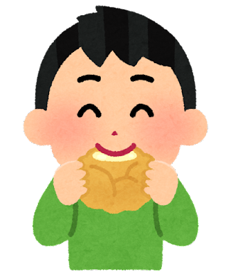 シュークリームを食べる子供のイラスト(男の子)