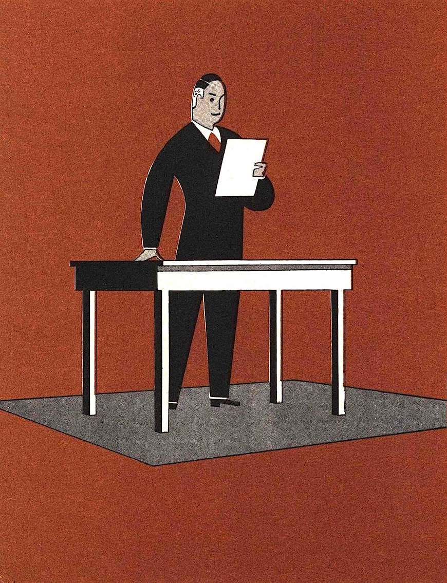 a 1940 illustration of a dynamic man at a desk  reading from a sheet of paper
