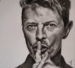 Retrato del David Bowie pintado en acuarela