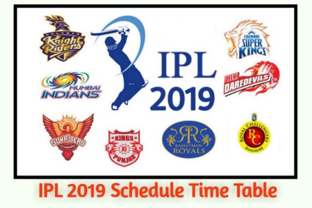 IPL 2019 Ka Time Table Schedule - Complete Details for Indian Premier League Season 12