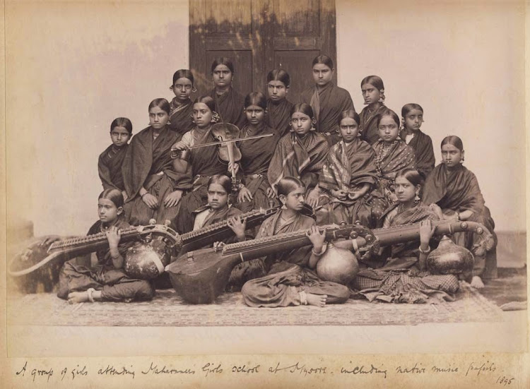 A group of girls attending Maharani's Girls school at Mysore including native music pupils  - c1890's