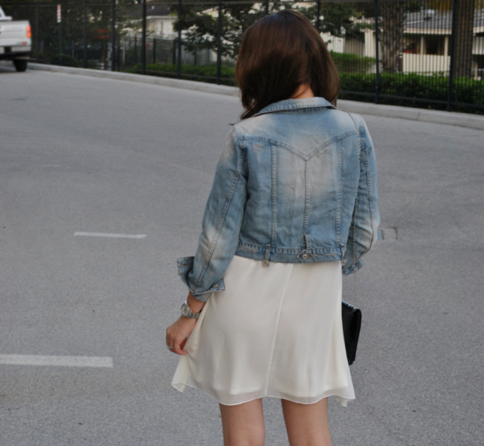 love, inlovewithfashion lace sleeve dress, arafeel jeans jacket,strap heels