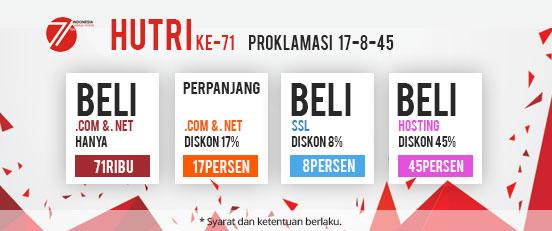 Promo Domain dan Hosting Murah HUT ke-71 RI Proklamasi 17-8-45 IDwebhost