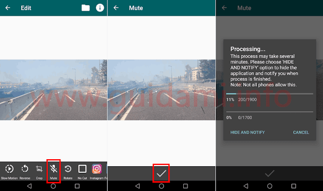 Schermate app Android Video2me per rimuovere audio da video