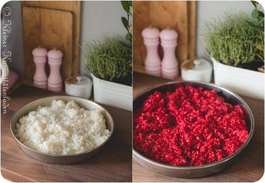weißer und mit Roter Bete gefärbter Sushireis