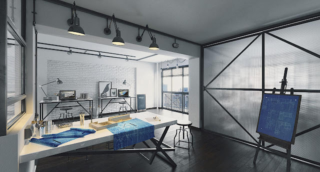 Desain 3D Interior Ruangan Staf Kantor