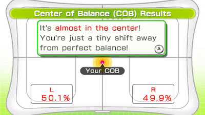 Image showing my balance being 50.1% on the left leg and 49.9% on the right, which apparently isn't good enough.