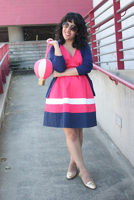 Kate Spade Pink and Navy Dress and Hot Air Balloon Purse Spring Outfit | Will Bake for Shoes