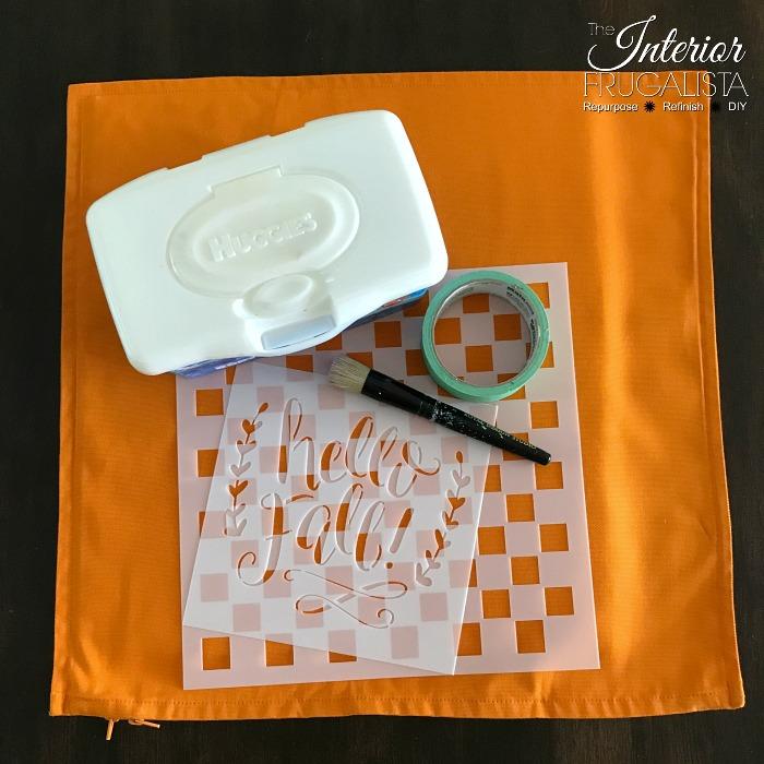 DIY Checkered Fall Pillows Stencil Supplies