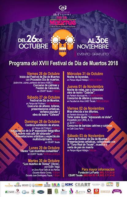 programa festival día de muertos tecate 2018