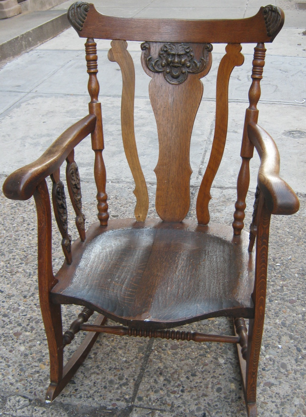Turn Of The Century Oak Rocking Chair Sold