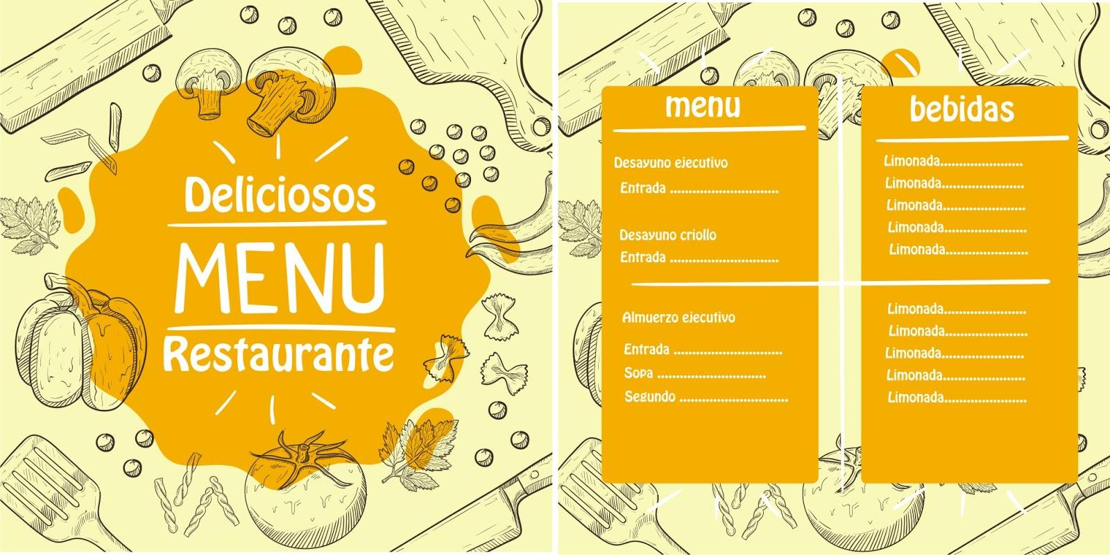 TECNOLOGIA | DISEÑO|: Plantilla de menú de restaurante para diseño ...